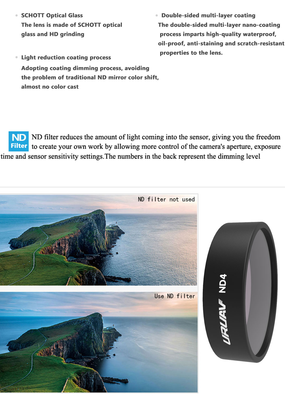 URUAV ND Lens Filter ND4/ND8/ND16/ND32 for Xiaomi FIMI X8 SE HD 4K Camera - Photo: 2