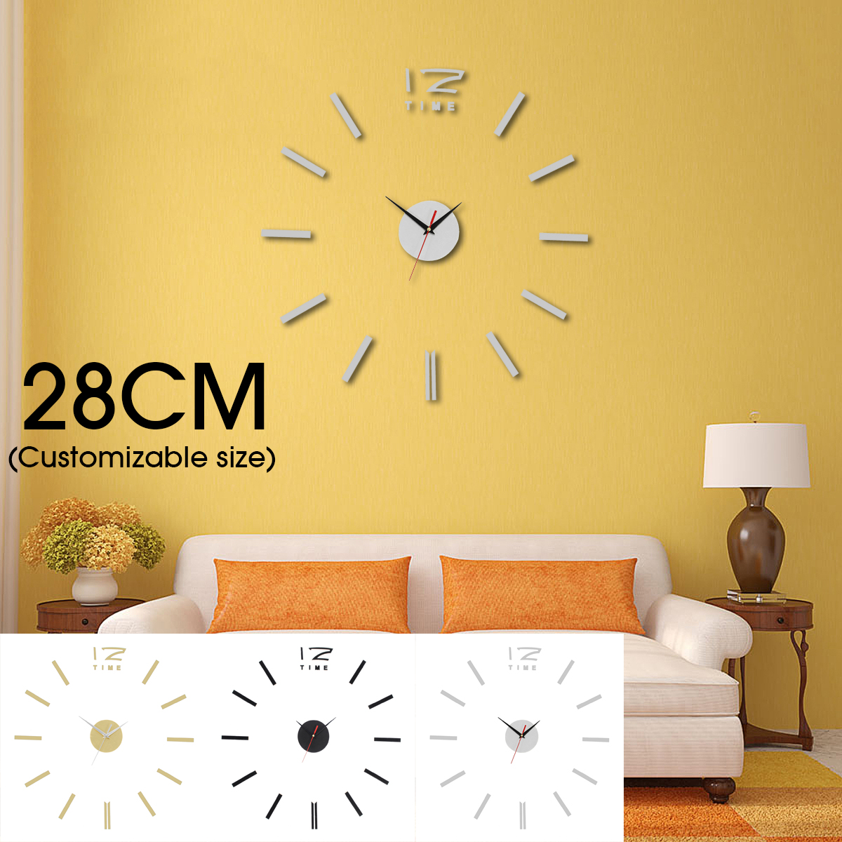 3D DIY Wall Clock Mirror Surface Clock Sticker Modern Home Office Decor Art Craft Gifts