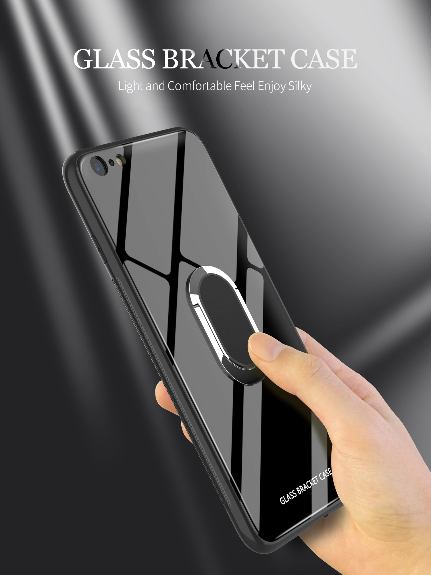 Bakeey 360° Rotation Ring Kickstand Magnetic Glass Protective Case for iPhone 6/6s/6 Plus/6s Plus