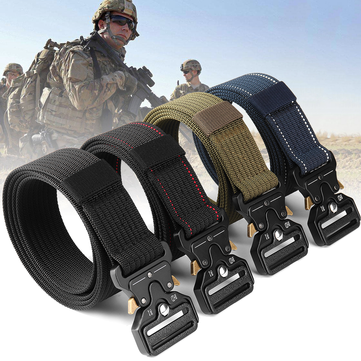 Survival Military Belts For Men Tactical Nylon Belt with Metal Buckle