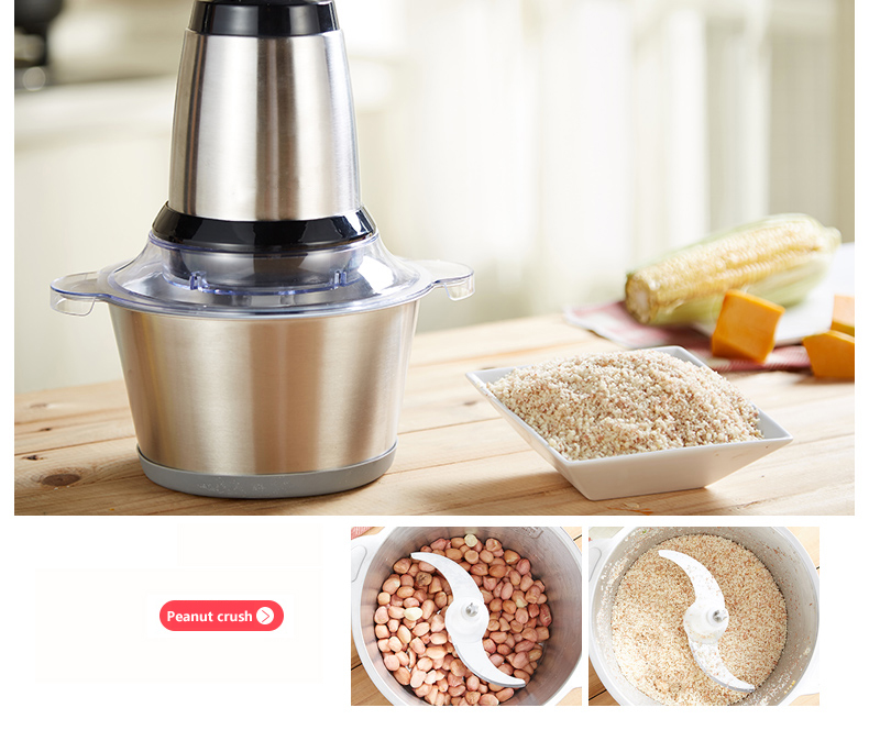 Biolomix 2L Stainless Steel Electric Automatic Meat Grinder Household Mincer Meat Chopper 220V