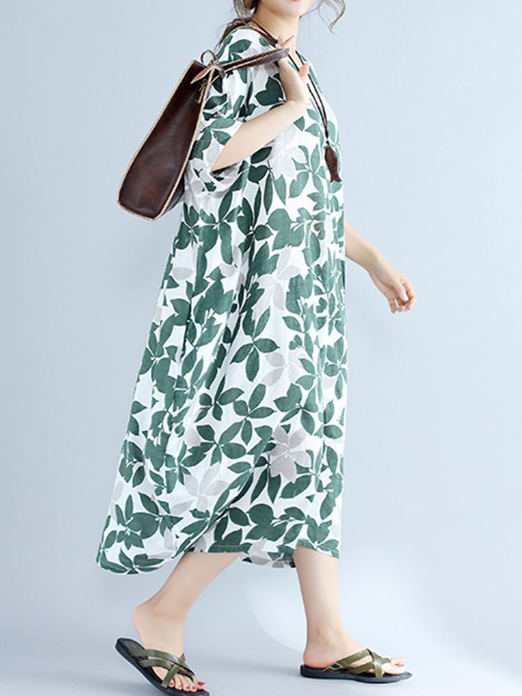 Casual Women Leaf Printed Half Sleeve O-neck Women Mid Long Dresses