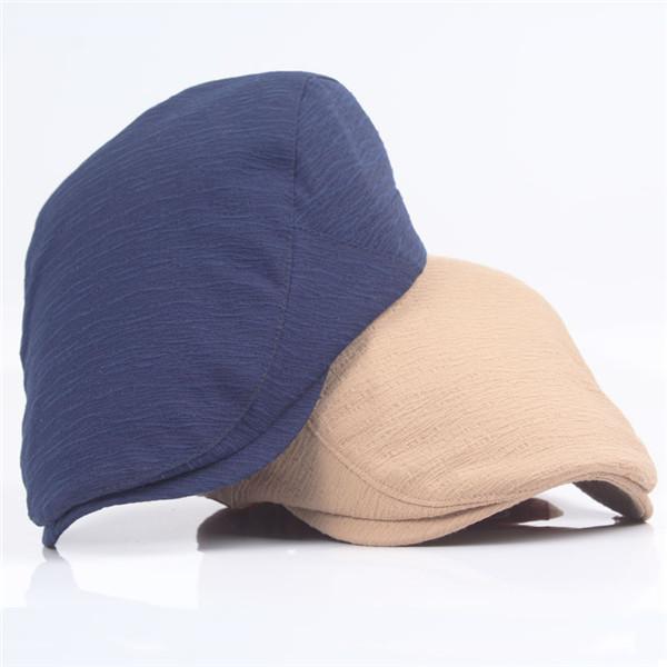 Men Washed Adjustable Solid Color Beret Hat