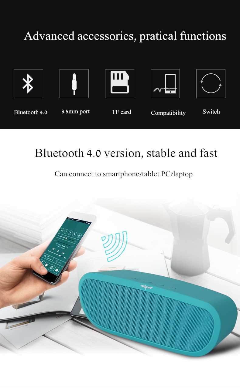 Zealot S9 2400mAh Smart Portable Bass Hands-free TF Card AUX Flash Disk Wireless bluetooth Speaker