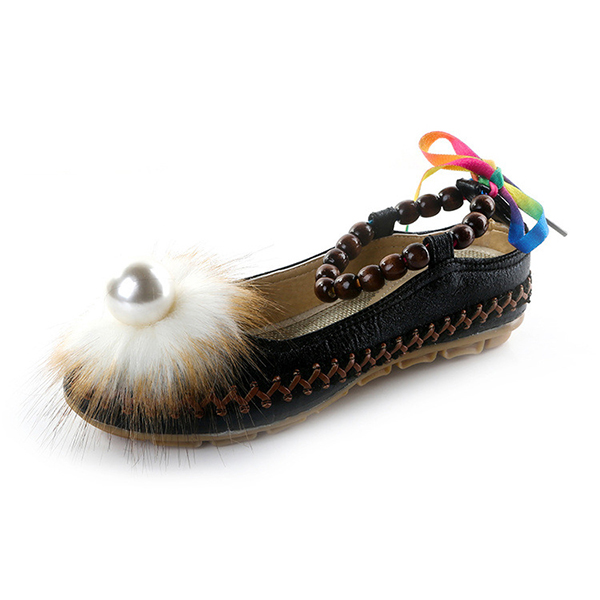 Folkways Style Pearl Decor Ankle Strap Flat Sandals Shoes
