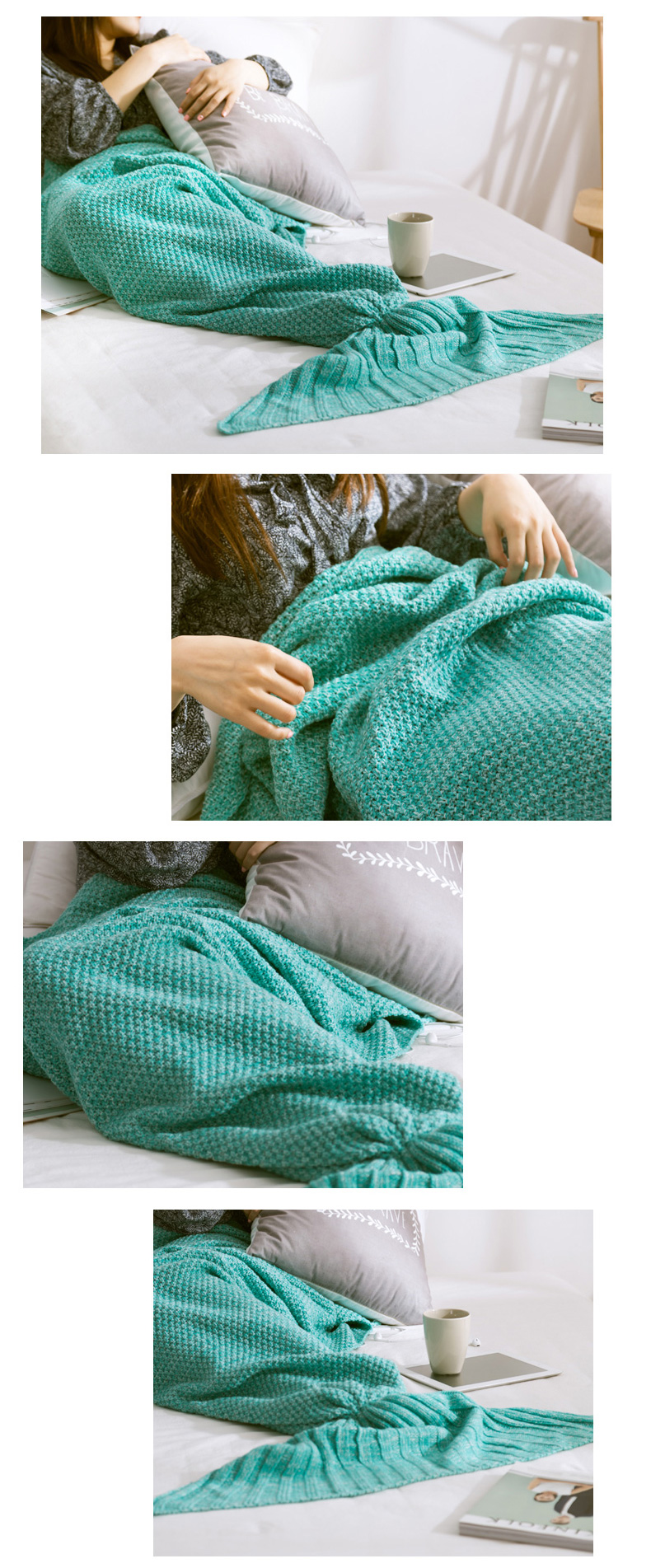 Honana WX-29 3 Size Yarn Knitting Mermaid Tail Blankets Fibers Warm Soft Home Office Sleep Bag Bed Mat