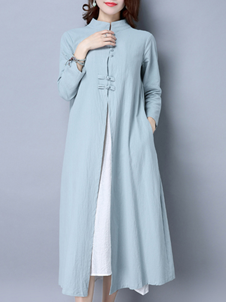 Vintage Women Patchwork Stand Collar Long Sleeve Dress