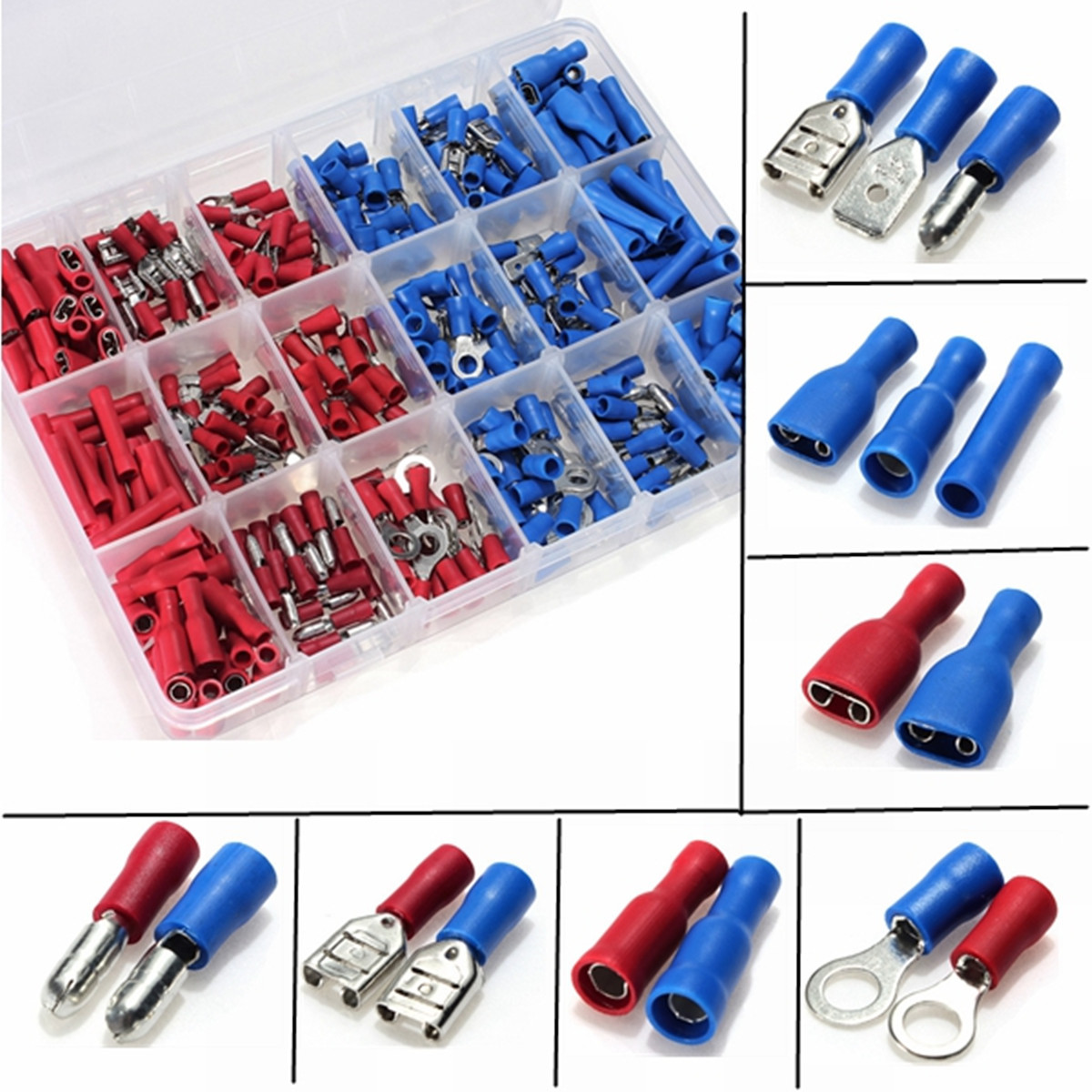 Excellway® EC09 358Pcs Insulated Electrical Wire Terminals Crimp Connector Butt Spade Kit