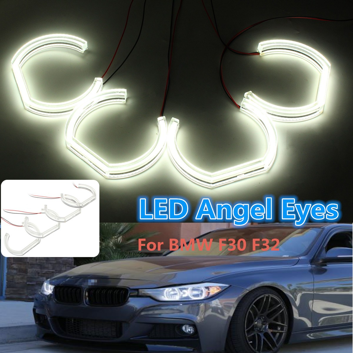 4pcs 12V LED White Angel Eyes Lights HALO Ring Headlight Lamps for BMW F30 E90 E92 3 Series