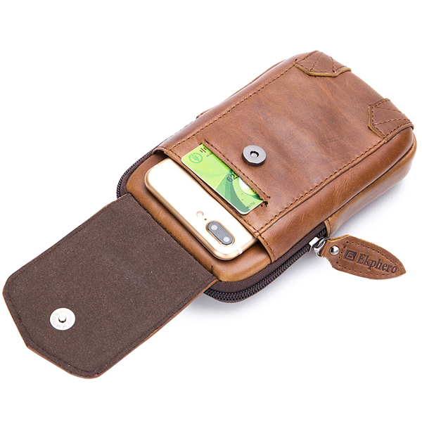Ekphero Men Retro Genuine Leather Belt Phone Pouch Hip Bum Bag Waist Bag