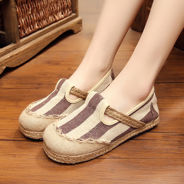 Women Cloth Shoes Casual Flax Outdoor Flat Loafers