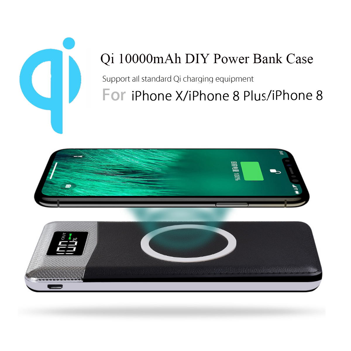 1000mAh QI Wireless Charging Charger Power Bank DIY Plastic Case Case With Flashlight