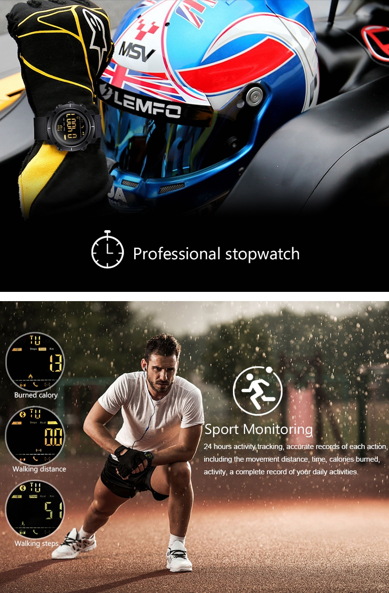 LEMFO LF19 bluetooth Watch Blacklight Waterproof Sport Monitor Call Message Reminder Smart Watch