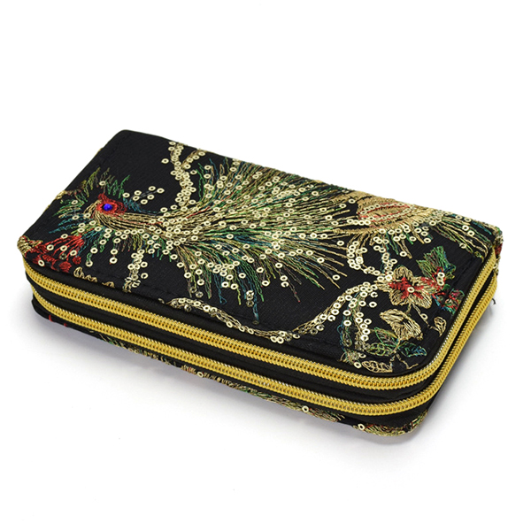 Women Embroidered National Style Wallet 6 Inches Phone Bag