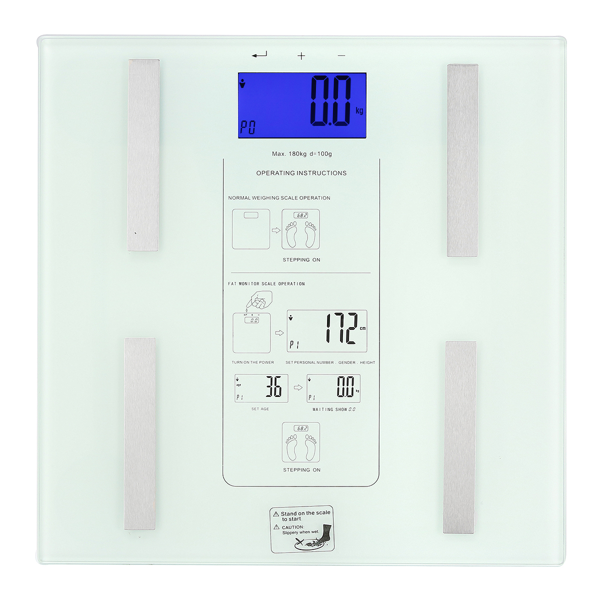 180kg LCD Digital Body Fat Scale Weight Loss Calorie BMI Analyser Tempered Glass