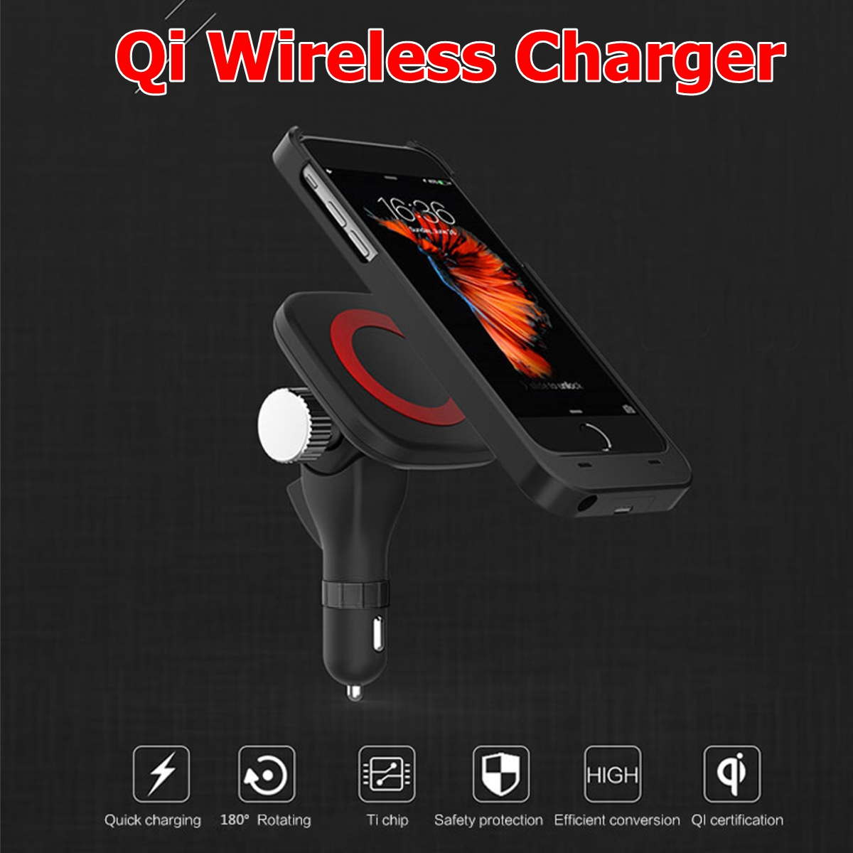 12-24V Qi Fast Wireless Magnetic Car Charger Magnetic Mount Holder