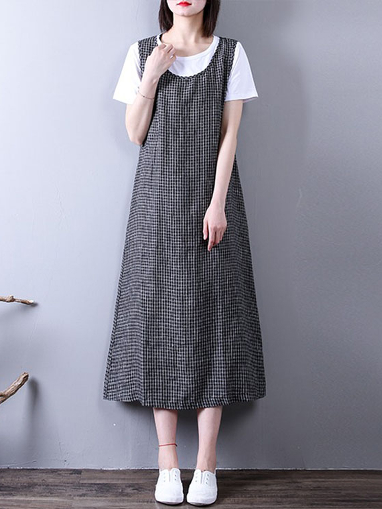Women Sleeveless Plaid Dress