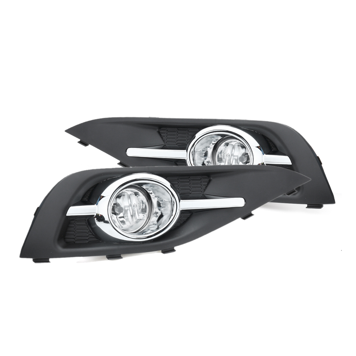 Pair Front Bumper Fog Light Lamp Grilles with Switch Harness Set for Honda CR-V 2012-2014