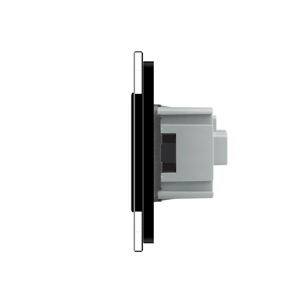 Livolo Black Glass Double EU 16A Wall Socket VL-C7C1EU-12/VL-C7C1EU-12