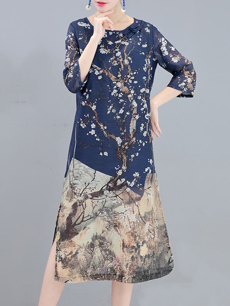 Elegant Chinese Style Floral Printed Side Split A-Line Three Quarter Sleeve O-Neck Women Dress