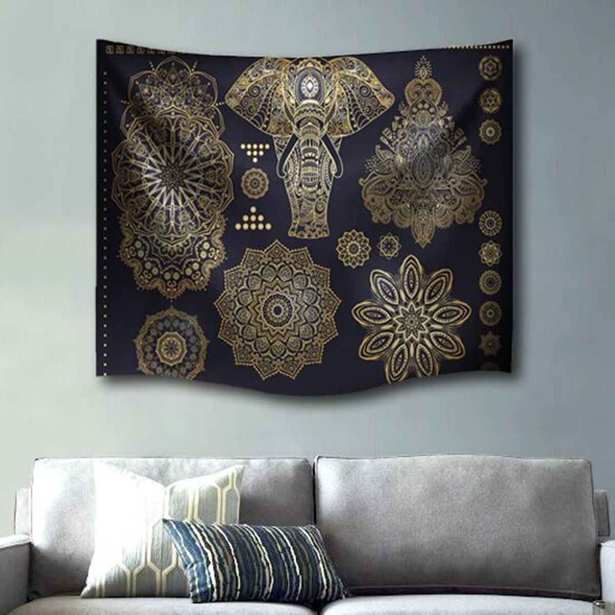 Indian Mandala Elephant Beach Towel Tapestry Wall Hanging Throw Dorm Bedspread Mat Decor