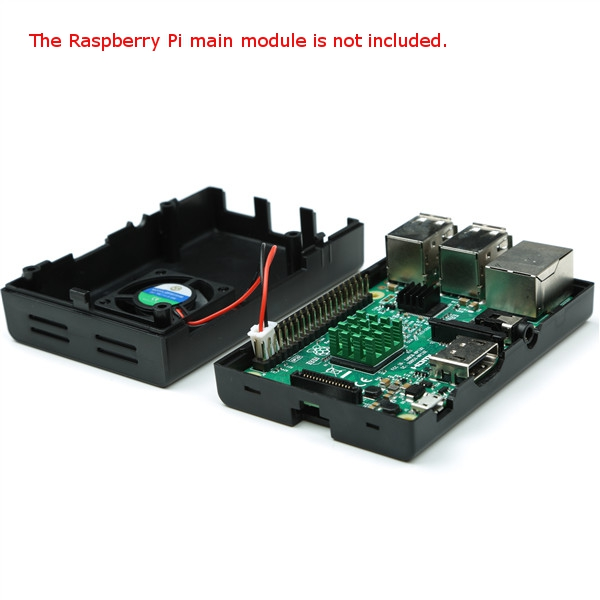 Black ABS Case Enclosure Box With Mini Cooling Fan And Heat Sink Kit For Raspberry Pi 3B