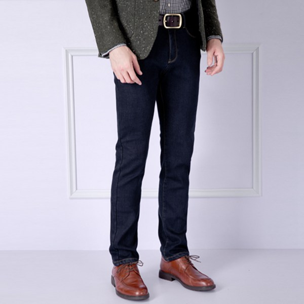 Winter Mens Casual Add Wool Jeans Thick Keep Warm Straight Pants