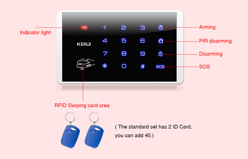 KERUI K16 Wireless RFID Touch Keyboard for PSTN GSM Home Alarm System 433MHz Password Keypad System