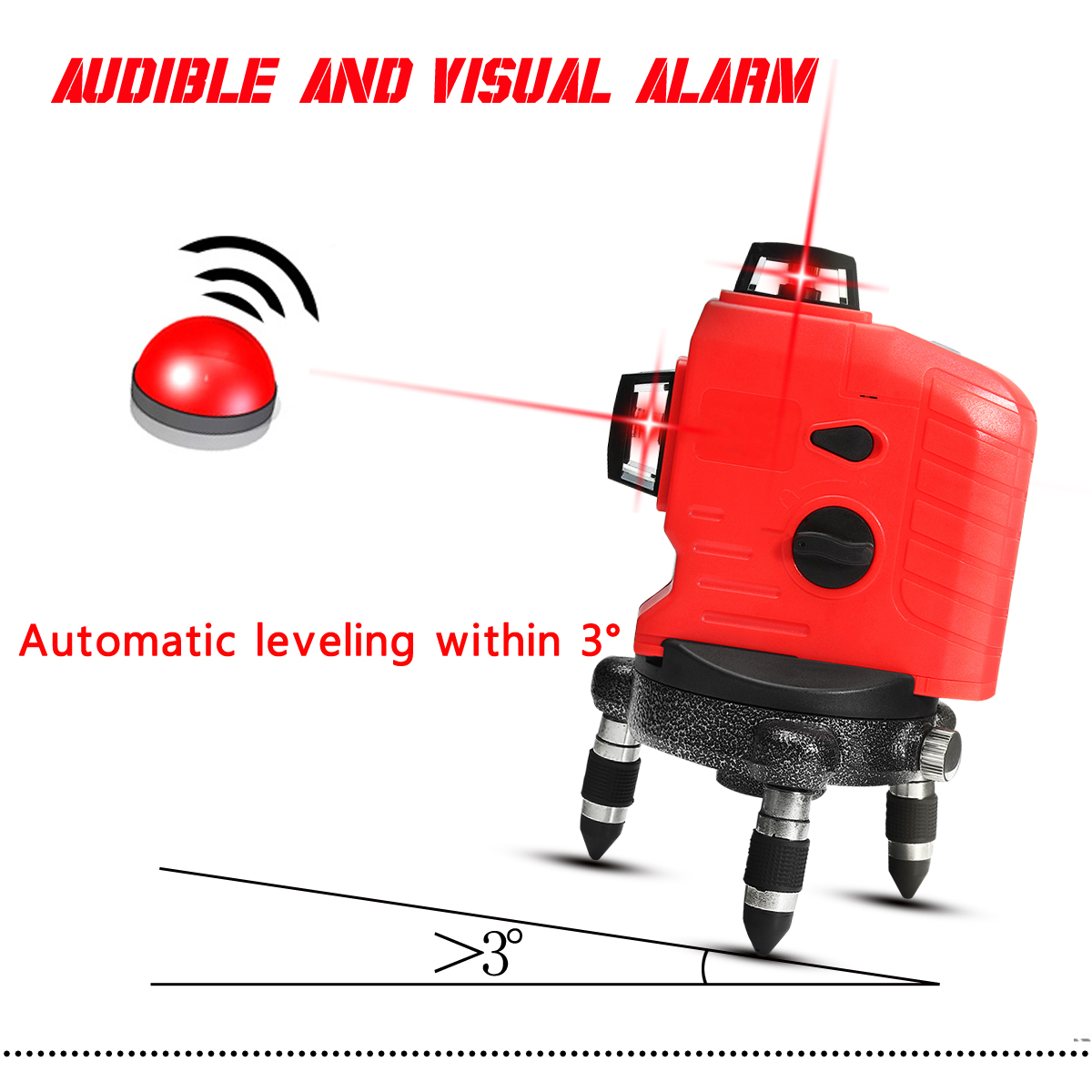 3D 12 Line Red Laser Level Measure Self Leveling Vertical Horizontal Cross Tool