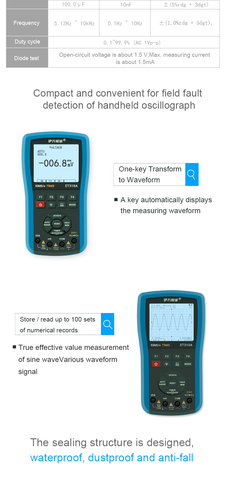 EONE ET310A 2 in 1 20MHz 80Msps Digital Handheld Storage Oscilloscope ScopeMeter True RMS Multimeter Automatic Measurement
