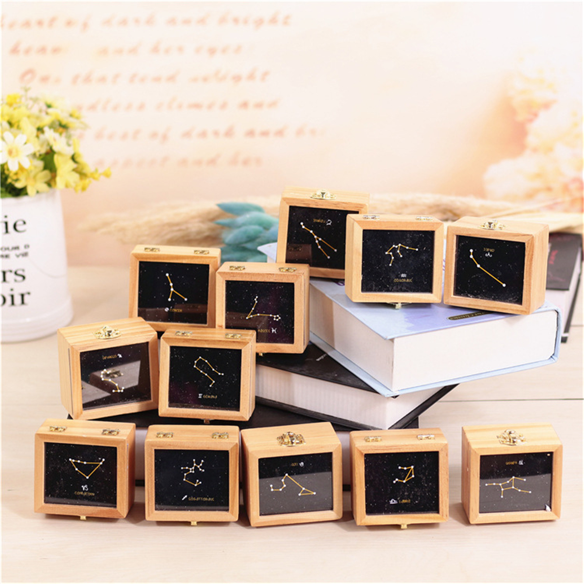 Twelve Constellation Vintage Wooden Music Box Kids Child Xmas Birthday Gift