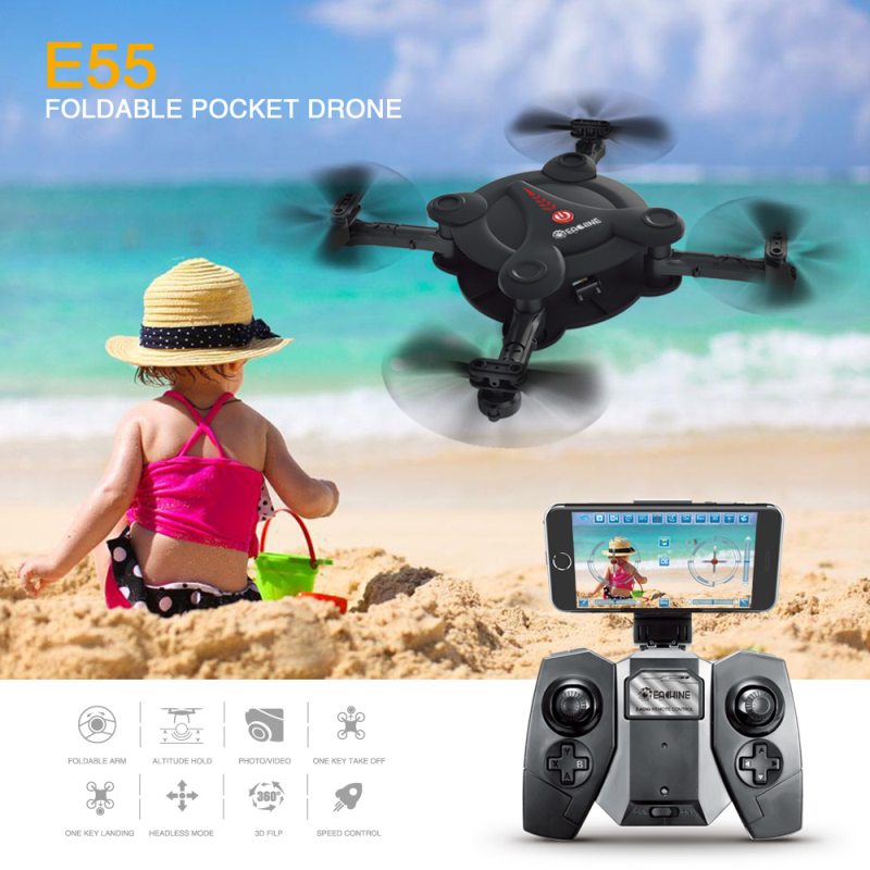 Eachine E55 Mini WiFi FPV Foldable Pocket Selfie Drone With High Hold Mode RC Quadcopter