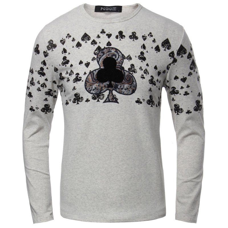 Men Fall Winter Cotton Blend Poker Printed Long Sleeve O-neck T-shirt 4 Colors