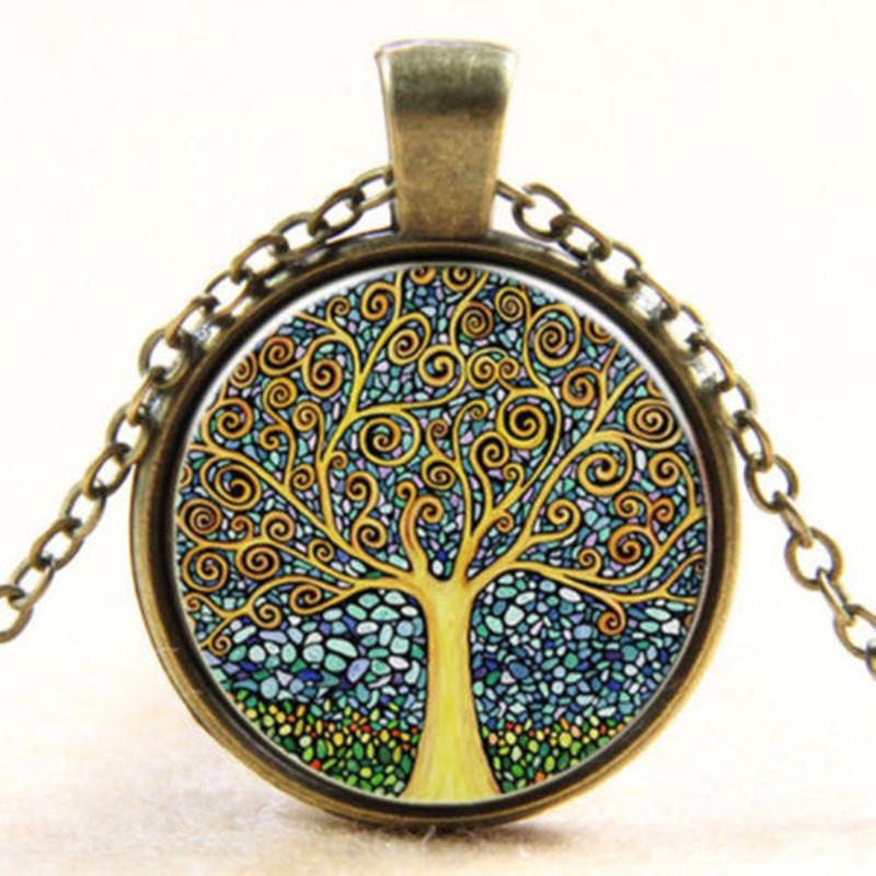 Купить Винтаж Стекло Круглое дерево жизни Вера Лунный свет Шарм Ожерелье для Женское для мужчин