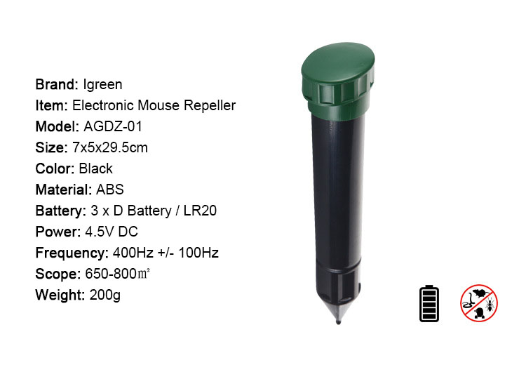 Igreen AGDZ-01 Garden Electronic Animal Repeller Sonic Wave Outdoor Rodents Mouse Expeller