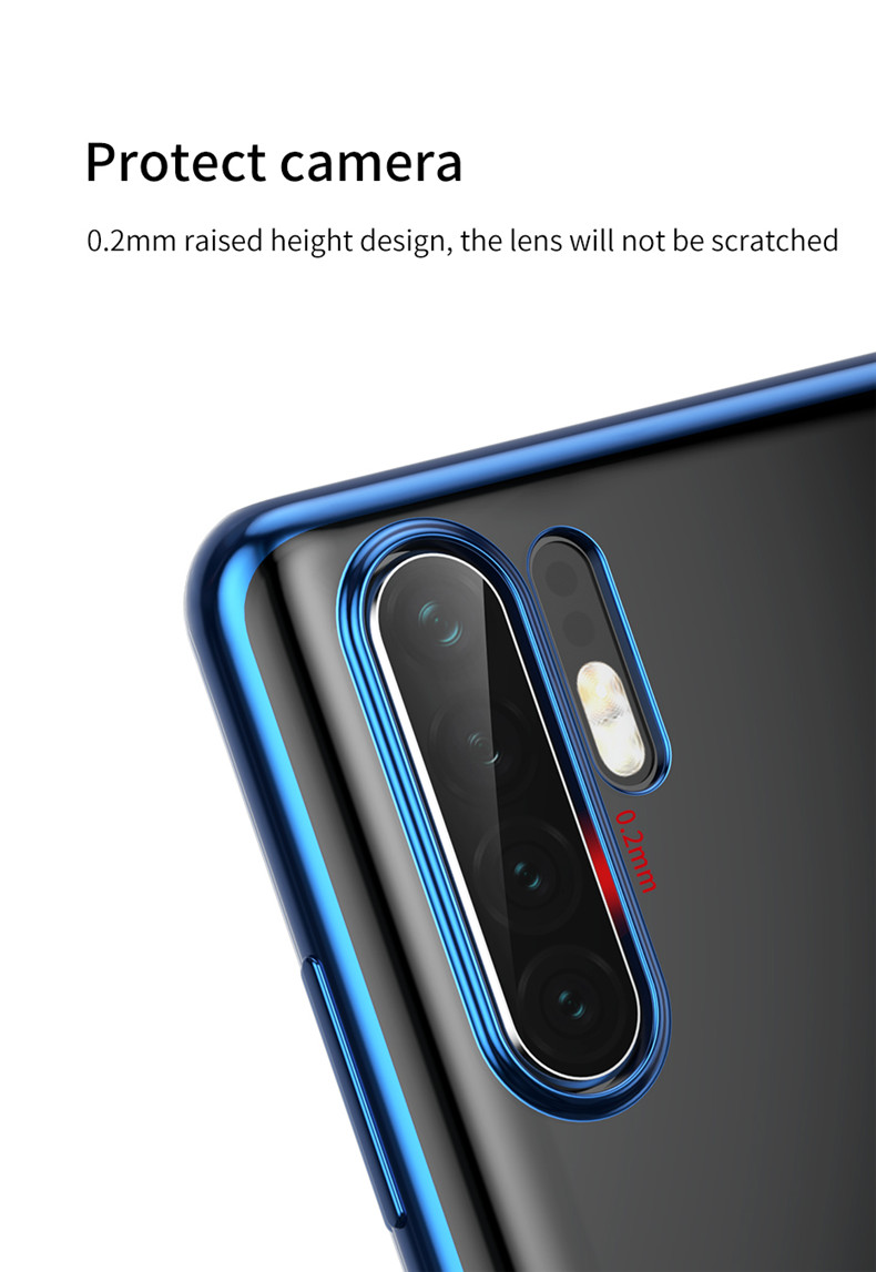 Baseus Transparent Plating Shockproof Soft TPU Back Cover Protective Case for Huawei P30 Pro