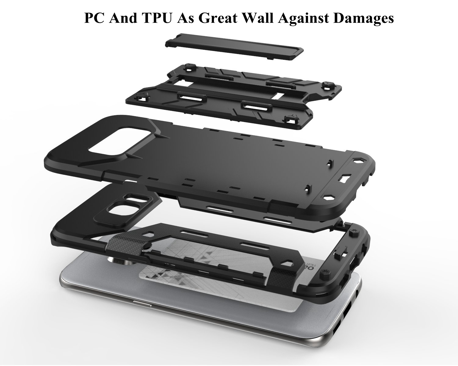 PC TPU Dual Protection Built-in Card Slot Kickstand Case For Samsung Galaxy S7 Edge