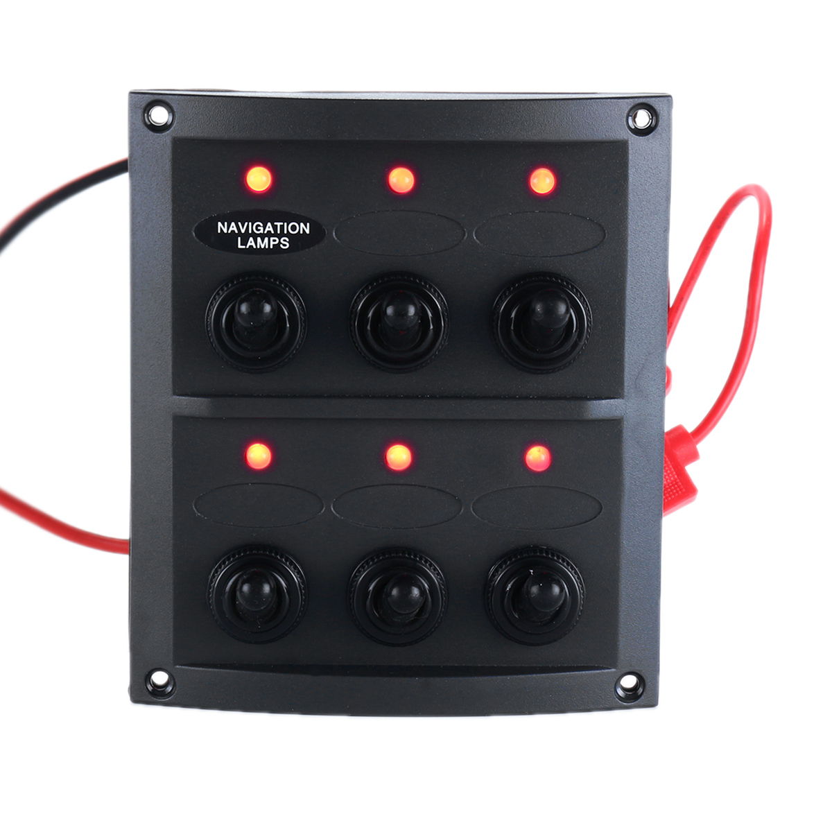 DC 12V 6 Gang Toggle Switch Panel Red LED Light 15A Blade Fuses