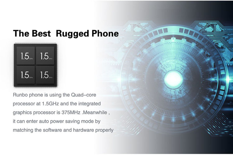 Runbo X6 5.0 Inch 2GB RAM 16GB ROM Android 5.1 4G-LTE NFC Quad-core Waterproof Rugged Smartphone