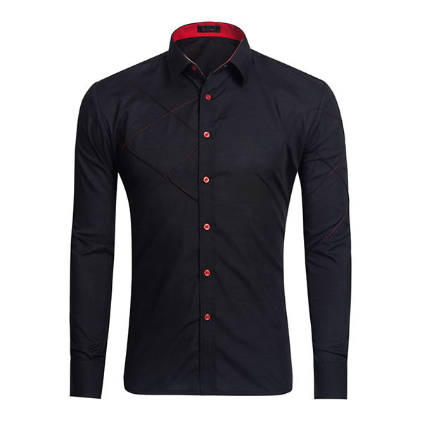 Men Casual Fashion Long-sleeved Lapel Shirt 6 Colors