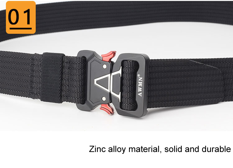125cm AWMN S05-3 3.8cm Tactical Belt Inserting Quick Release Quick Release Buckle Military Fan Hunting Nylon Belts