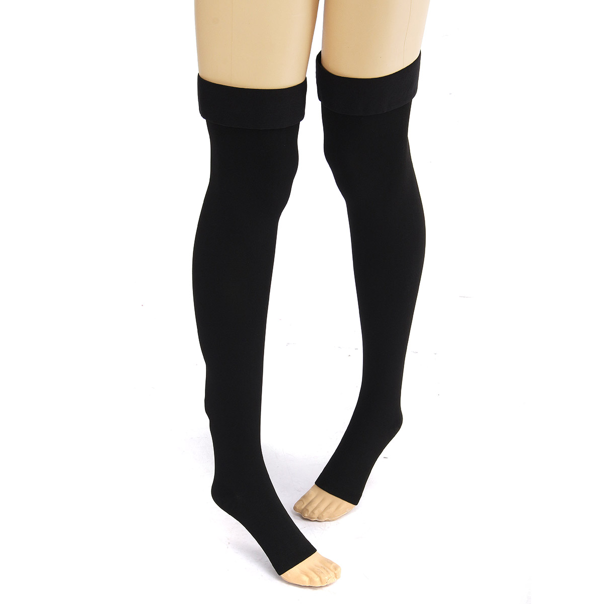 Black Anti Skip Compression Thigh Stocking Prevent Varicose Vein Socks Pain Relief Open Toe