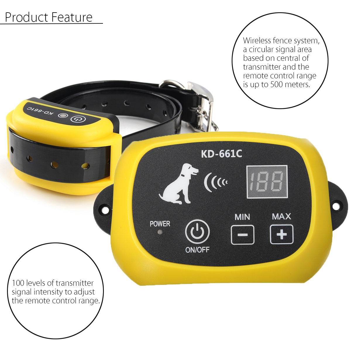 Wireless Dog Training Pet Trainer Remote Containment System With 2 Receiver Yellow