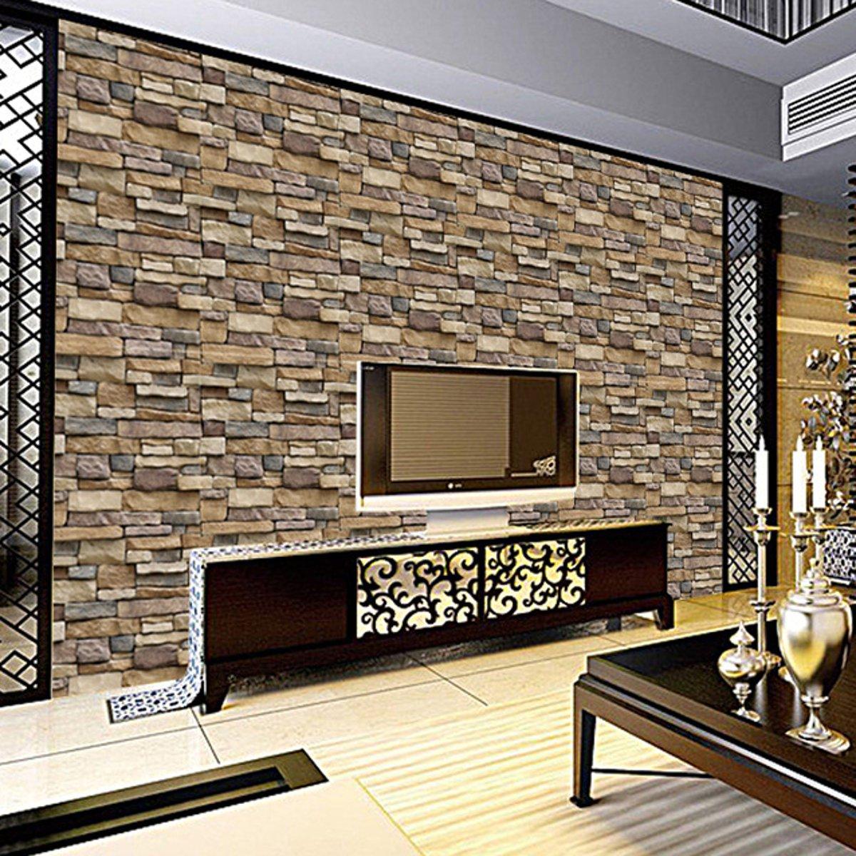 3D Luxury Self Adhesive Brick Wallpaper 10M Wall Sticker Roll Background Decals