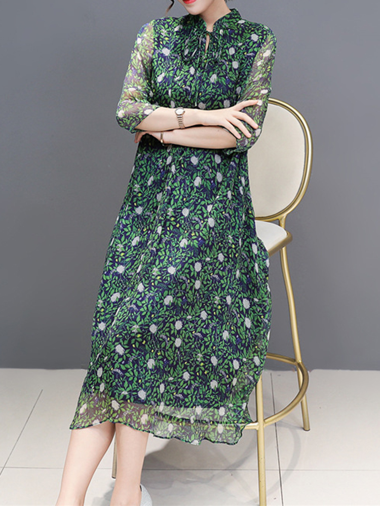 Women Floral Print Stand Collar A-Line Maxi Beach Dress