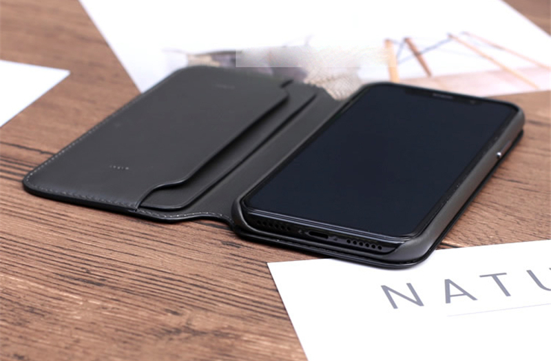 Smart Sleep Wake-up Leather Flip Case Phone Cover With Card Slot Holder For iPhone X