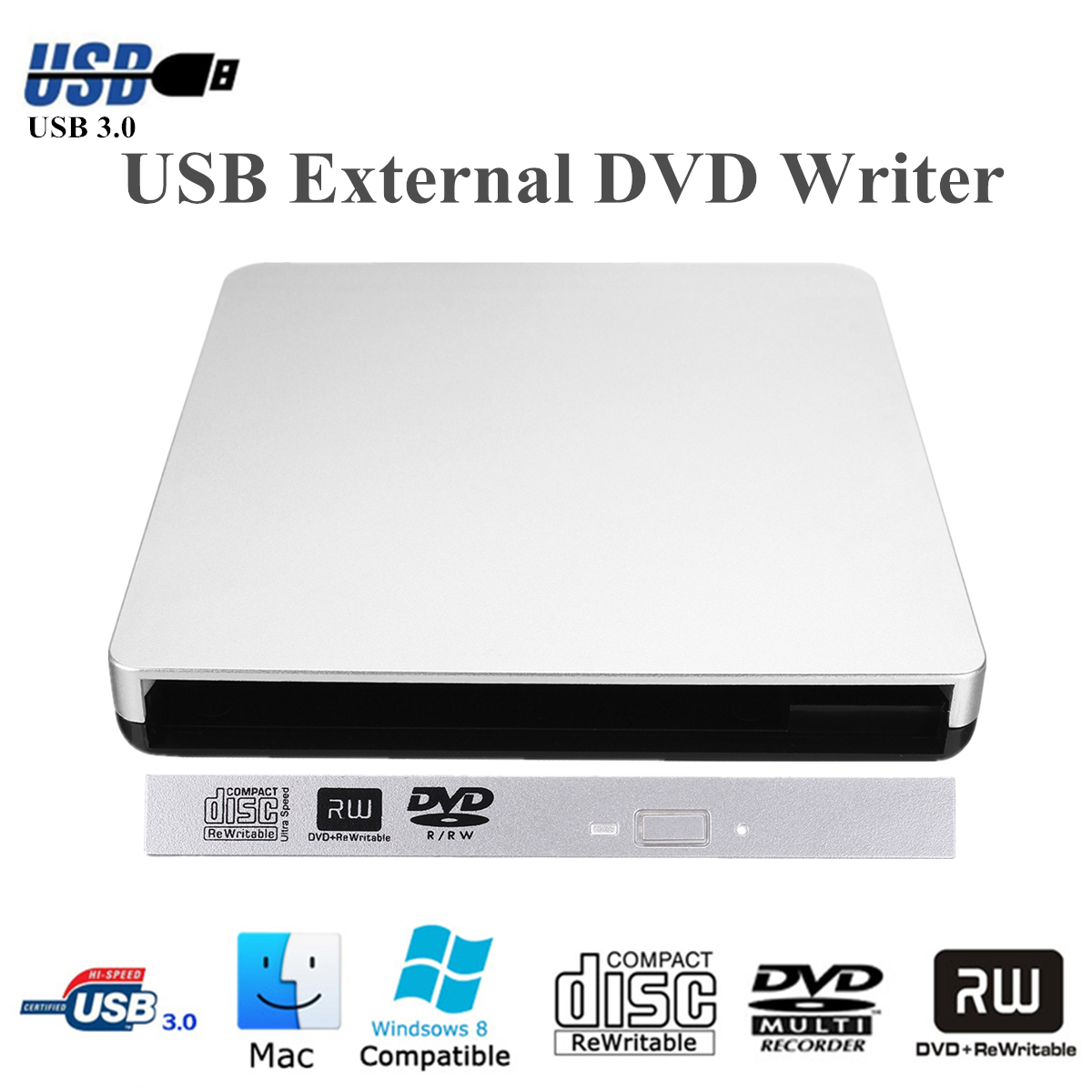 USB 3.0 SATA 9.5mm External Enclosure Case For Laptop CD/DVD Drive