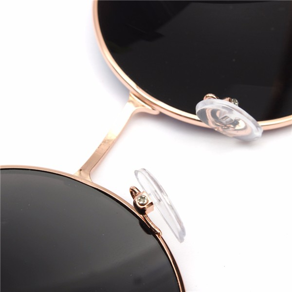 Women Men Retro Large Round Metal Frame Sunglasses Men Color Film Glasses