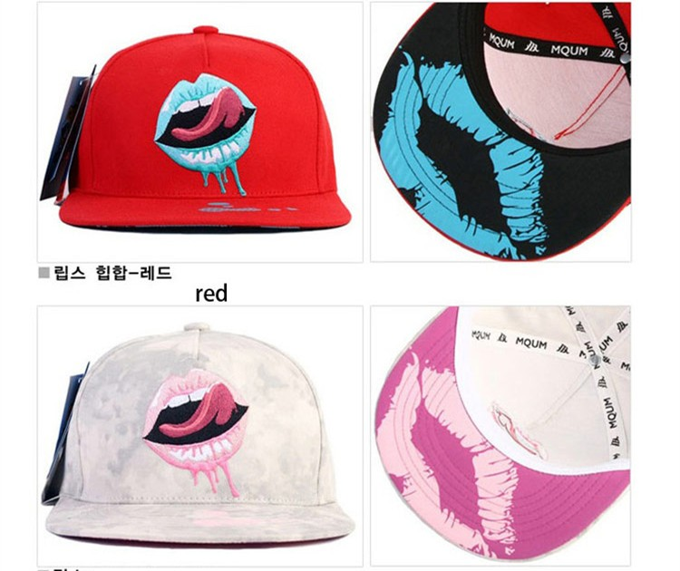 Unisex Men Women Printed Lip Tongue Pattern Hip-hop Baseball Cap Adjustable Snapback Hat