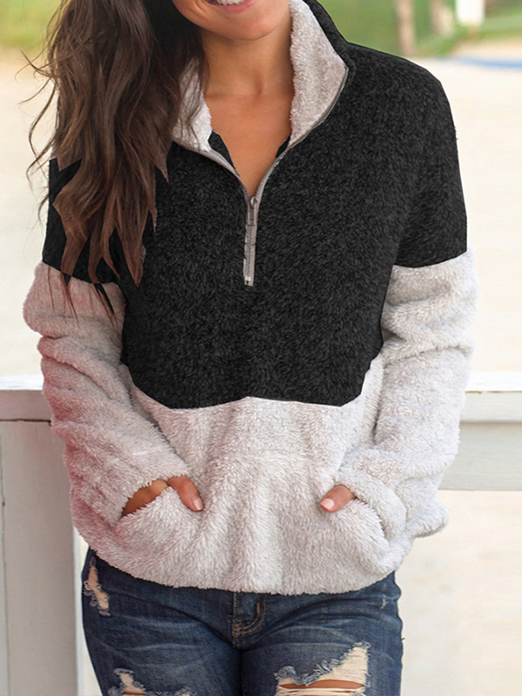 Women Trendy Two-tone Patchwork Fleece Pullover Sweatshirt
